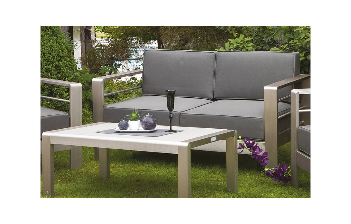 Salon de jardin gris maison design for Salon de jardin tresse gris anthracite