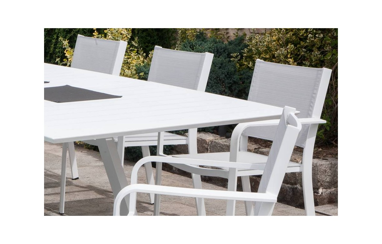 Beautiful table de jardin en aluminium blanche pictures for Table blanche