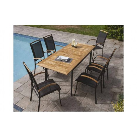 Table extensible d 39 ext rieur et 6 fauteuils en aluminium for Table d exterieur en aluminium