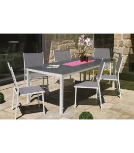 Table et chaises de jardin en aluminium gris et blanc Girona