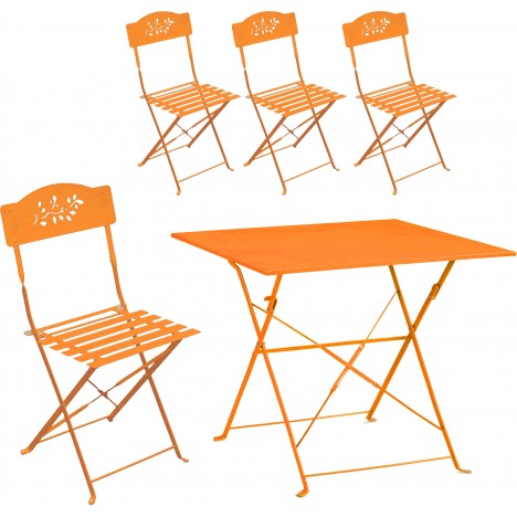 Petit salon de jardin table et 4 chaises en métal