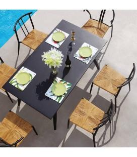 Table d'extérieur en aluminium et 6 chaises rotin Pirla