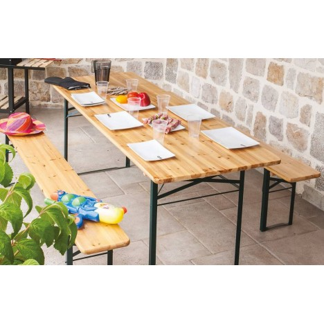 Ensemble de repas ext rieur pliant table 200 cm 2 bancs for Ensemble repas exterieur