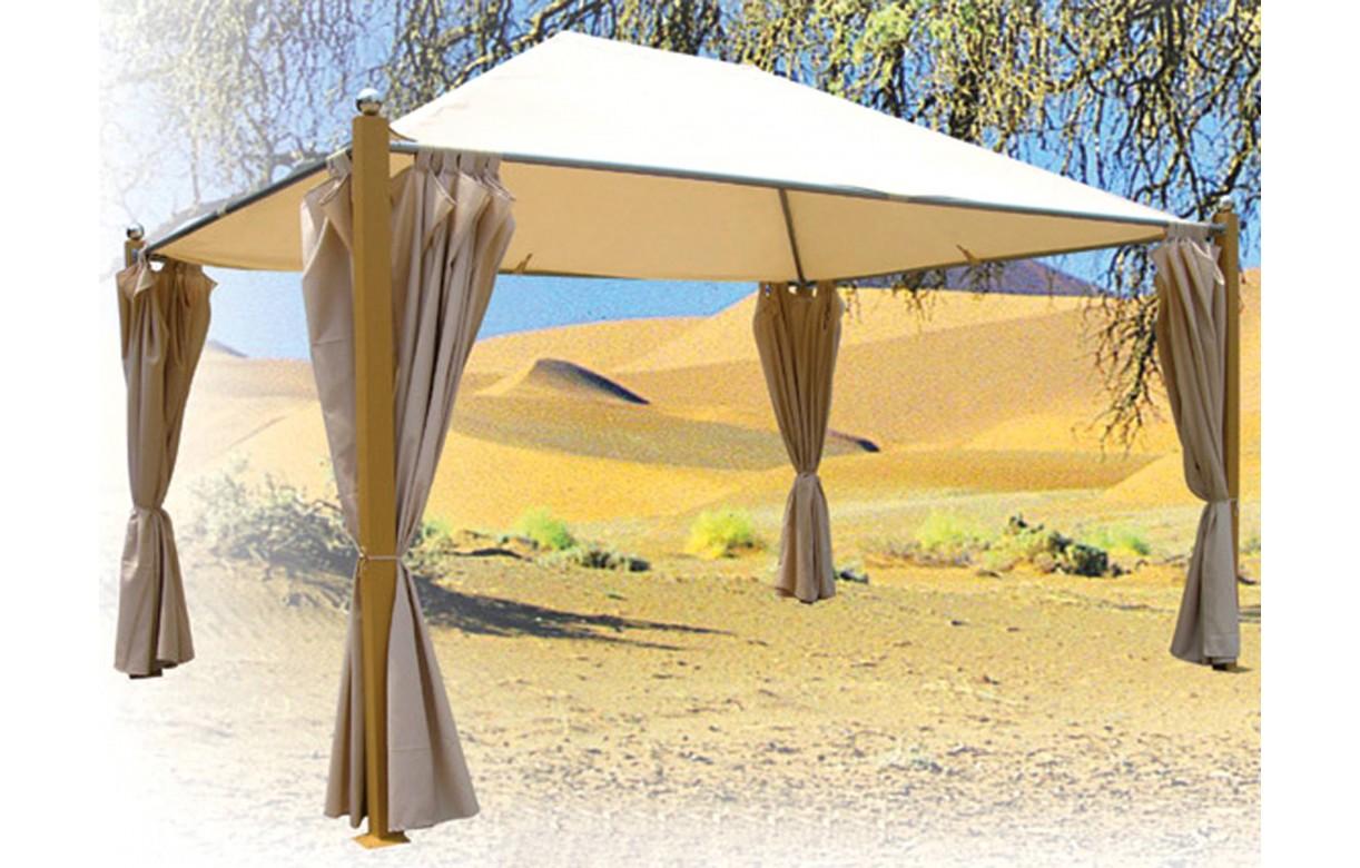 Tonnelle compl te avec toile de toit et rideaux beige for Rideaux fenetre de toit