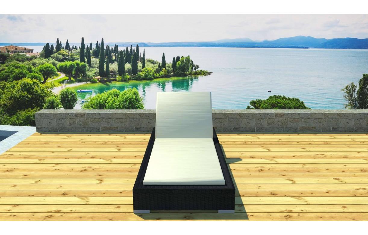 transat bain de soleil en r sine tress e noire cassis. Black Bedroom Furniture Sets. Home Design Ideas