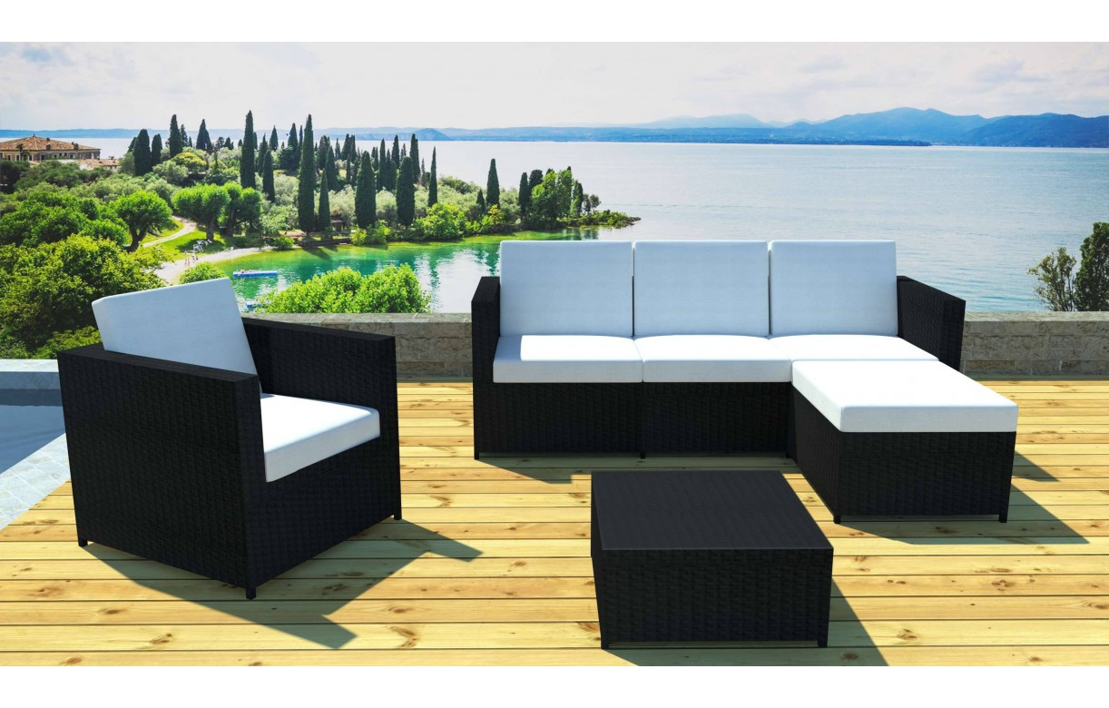 salon de jardin complet modulable 5 places avec table. Black Bedroom Furniture Sets. Home Design Ideas