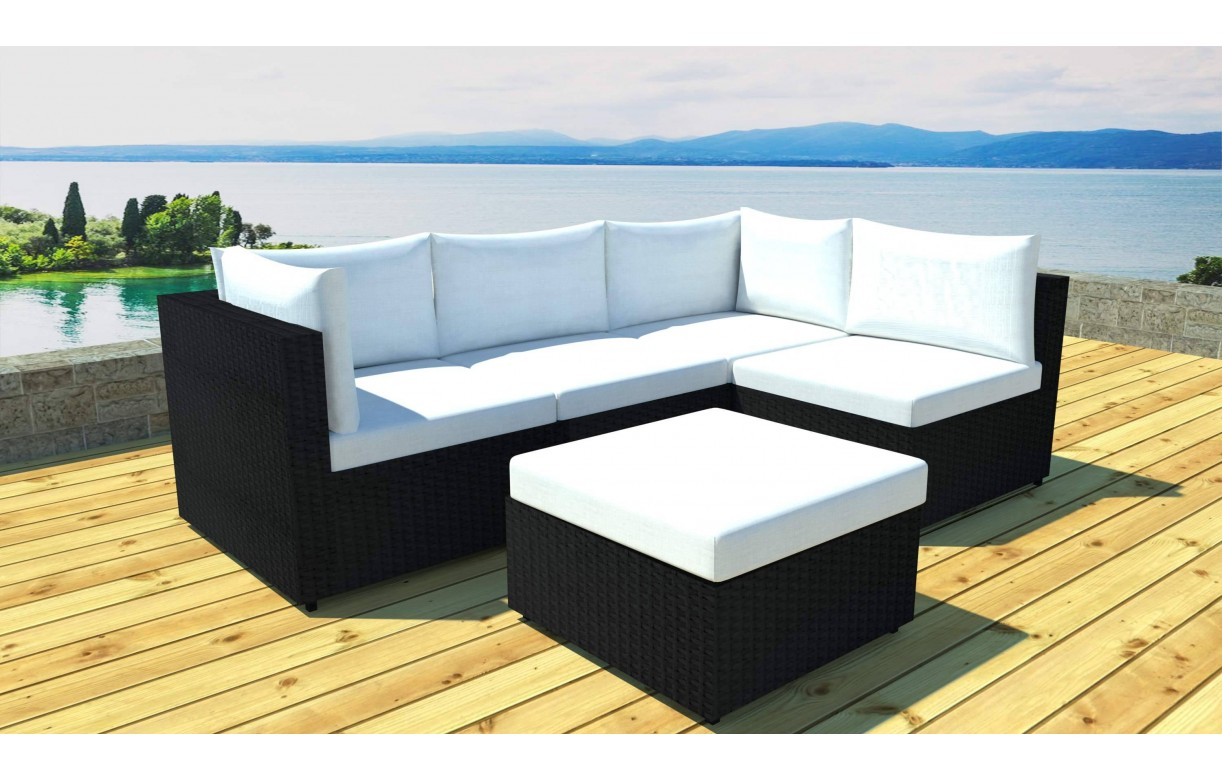 Salon de jardin modulable noir 5 places en r sine tress e for Mobilier exterieur resine tressee