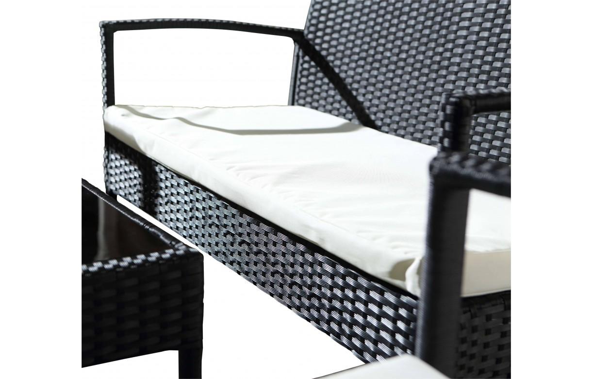 Salon de jardin r sine pas cher canap 2 fauteuils 1 table basse - Ensemble canape fauteuil pas cher ...