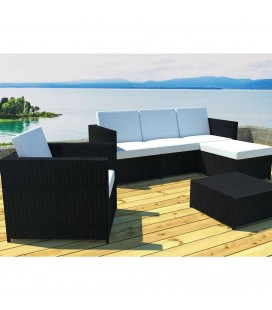 26808 Salon de jardin + 1 pouf + 1 fauteuil + 1 table basse