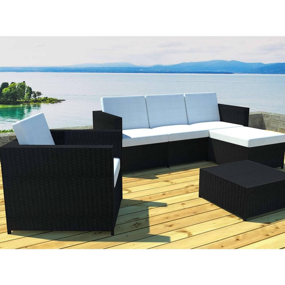 Salon de jardin résine tressée noire canapé 2 fauteuils et table basse
