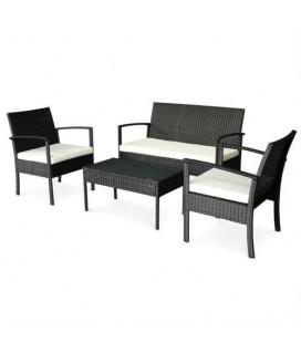 Salon de jardin résine pas cher Canapé + 2 fauteuils + 1 table basse