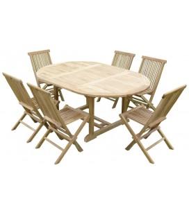 2060 Table ovale en teck brut 120/170 - 6 chaises -