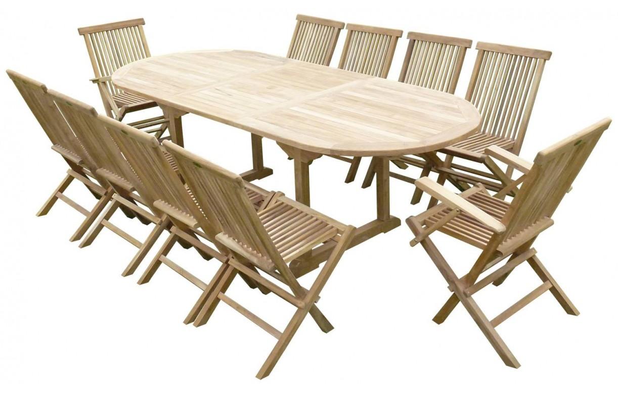 Ensemble de repas d 39 ext rieur extensible 300 cm 10 chaises for Ensemble repas exterieur