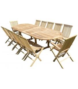 47089 Table ovale en teck brut 200/300 - 10 chaises + 2 fauteuils -