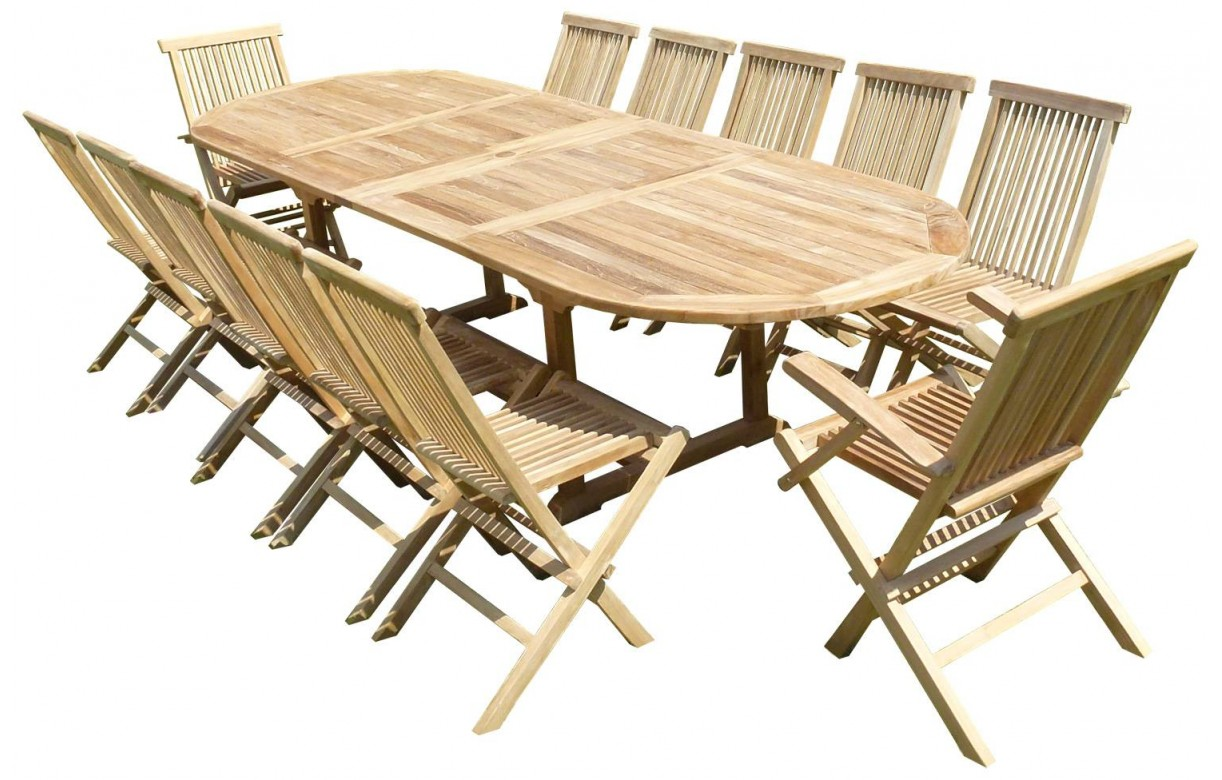 Ensemble de repas de jardin avec rallonge en teck massif for Table exterieur en teck