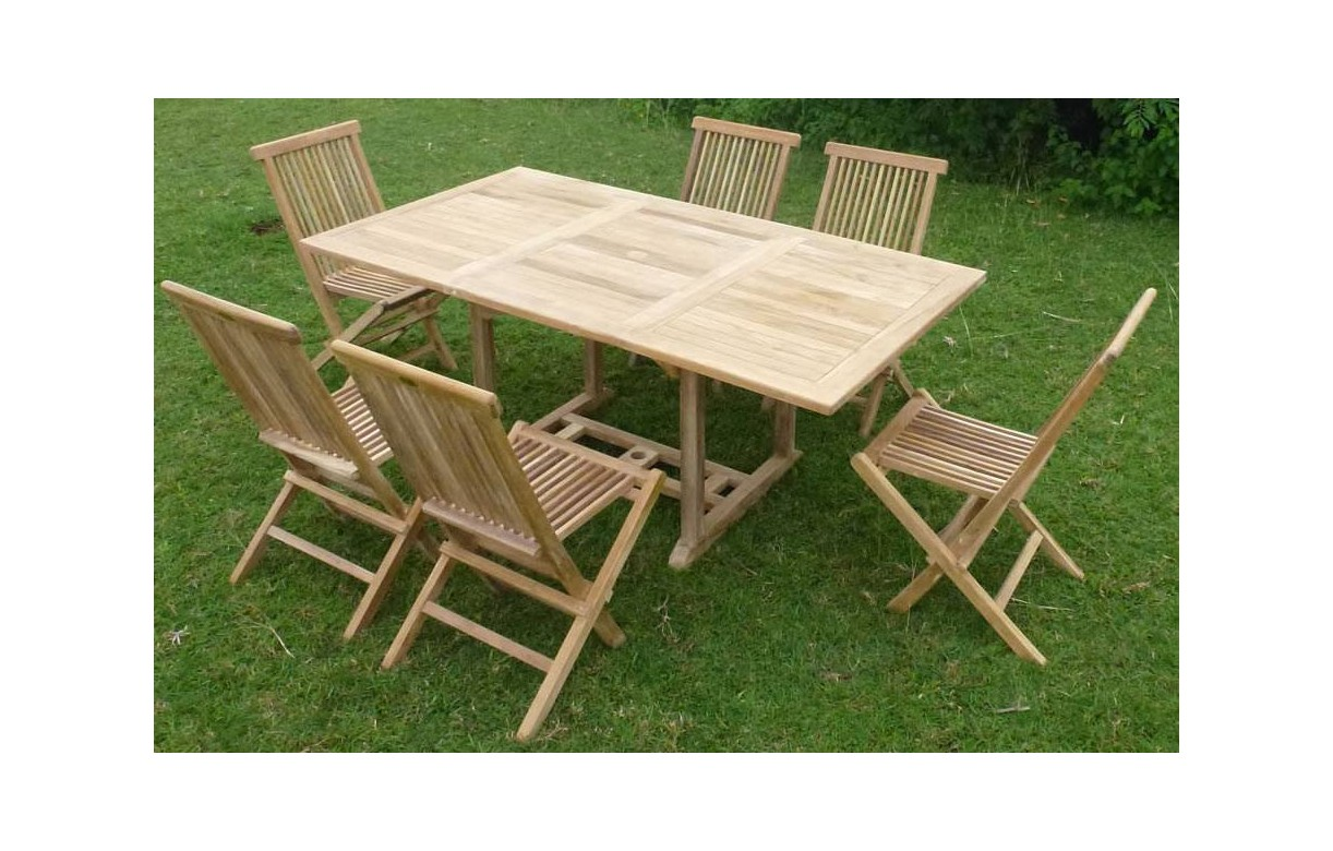Table de jardin en bois avec rallonge en teck massif 6 places for Table 6 chaises but