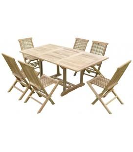 Table de jardin en bois avec rallonge en teck massif + 6 chaises