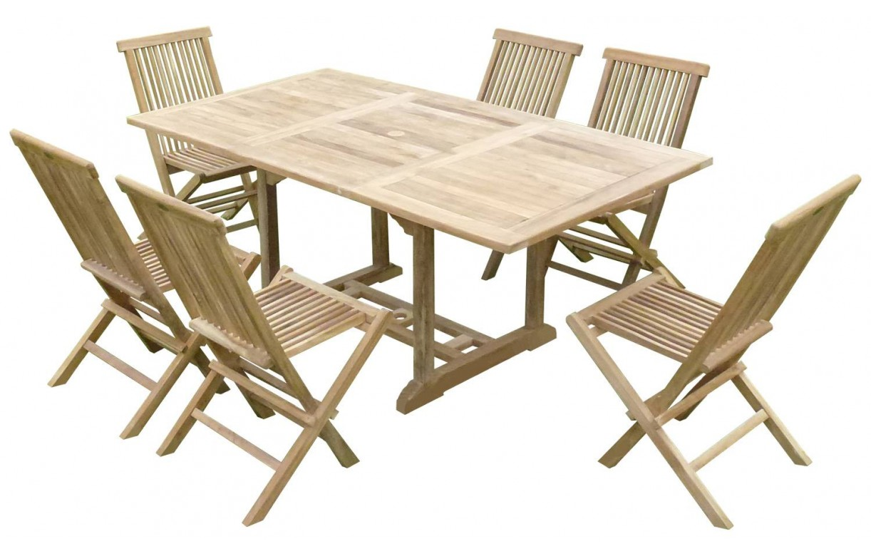 table de jardin en bois avec rallonge en teck massif 6 places. Black Bedroom Furniture Sets. Home Design Ideas