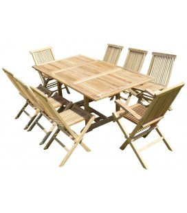 Table rectangulaire d'extérieur en teck brut extensible à 240 cm