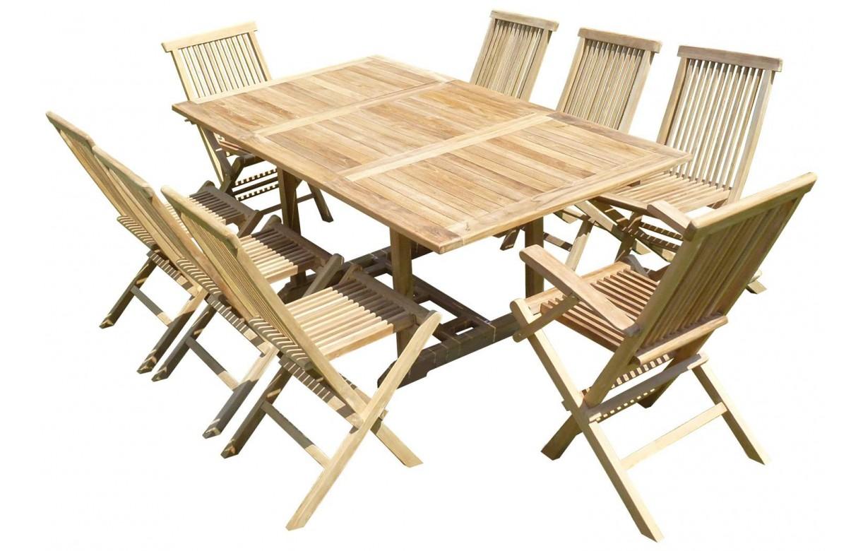 Table rectangulaire d 39 ext rieur en teck brut extensible for Table teck exterieur