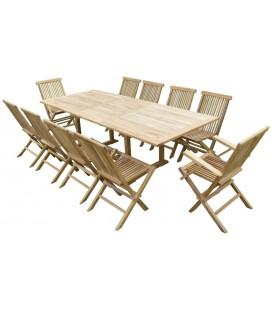 2112 Table rectangulaire en teck brut 200/300 - 8 chaises + 2 fauteuils -