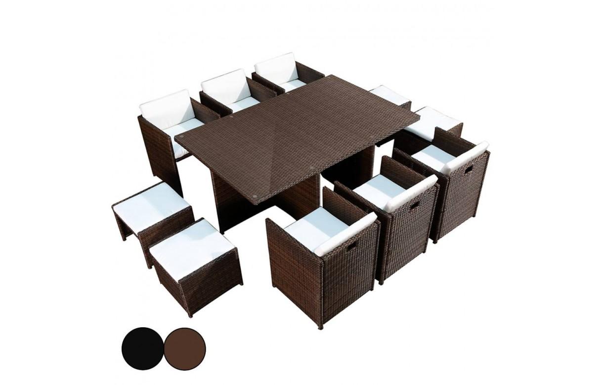 ensemble de jardin encastrable table en verre et 6 fauteuils 4 poufs. Black Bedroom Furniture Sets. Home Design Ideas