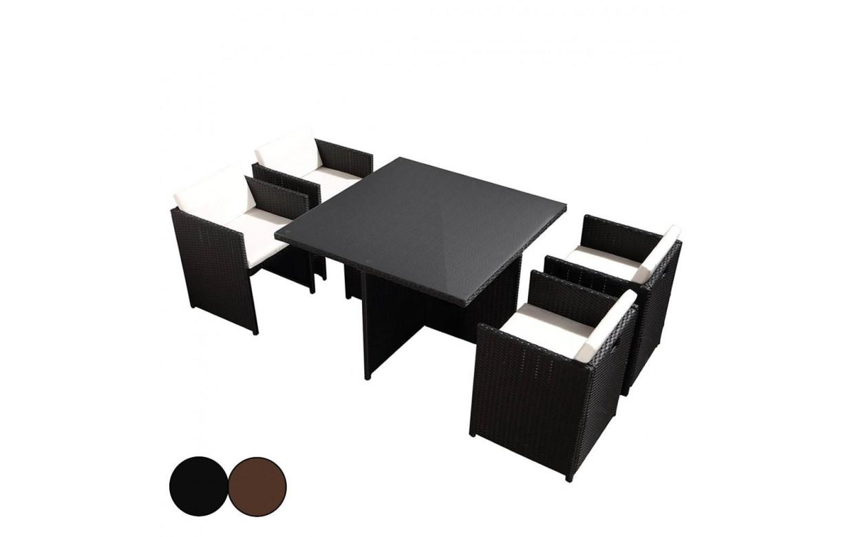 Salon de jardin encastrable table en verre et 4 fauteuils - Salon de jardin en verre ...