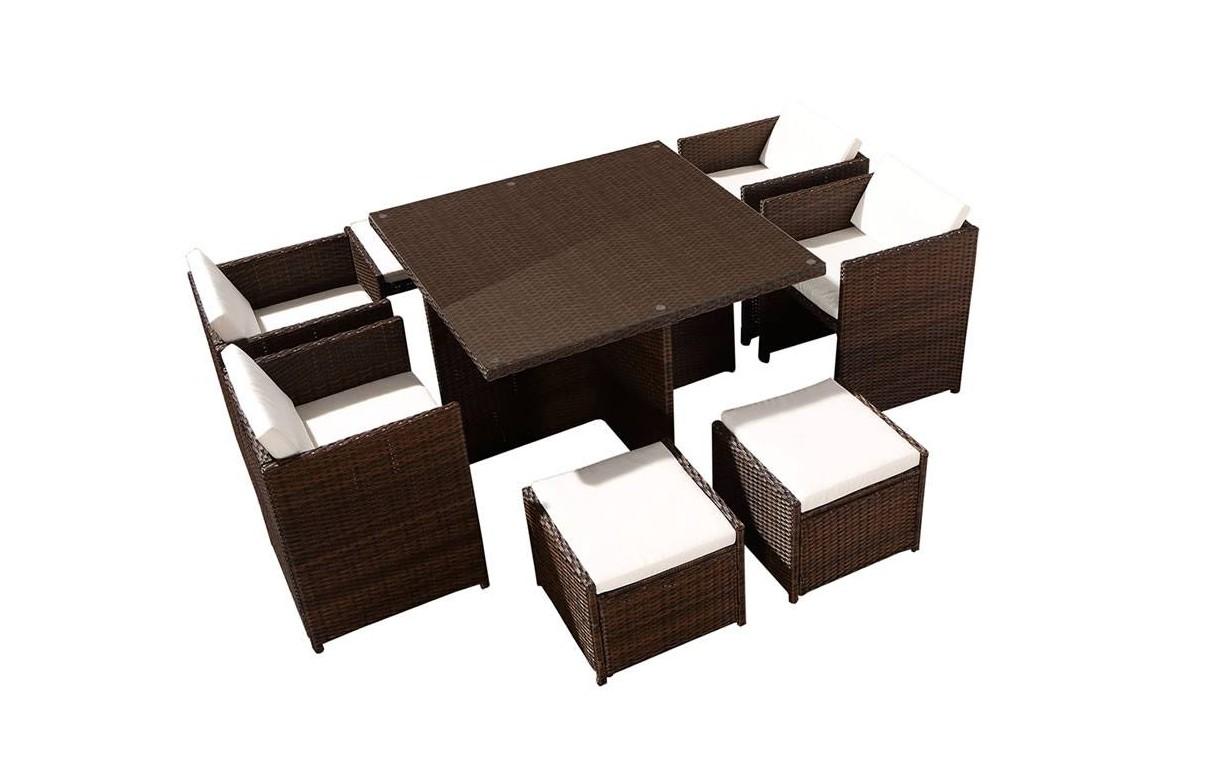 Ensemble de repas d 39 ext rieure encastrable avec 4 fauteuils et 2 poufs - Salon de jardin en verre ...