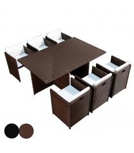 Ensemble de repas encastrable table et 6 fauteuils Sausset