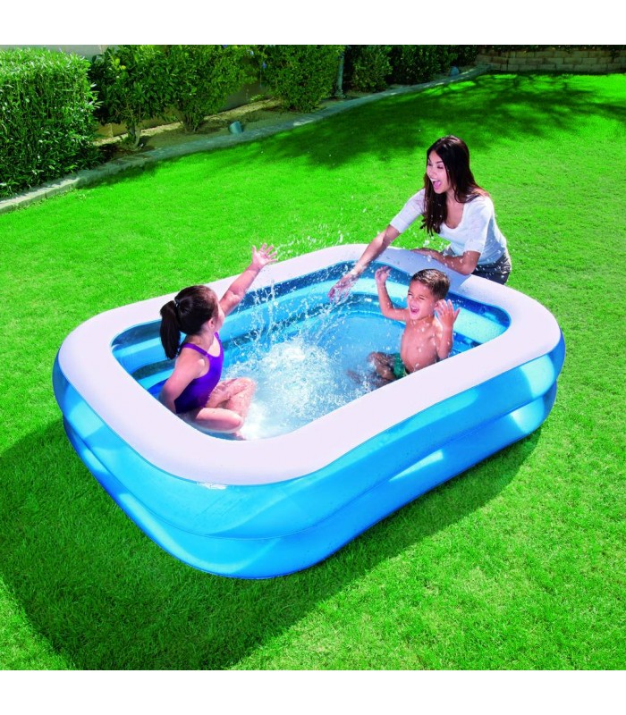 Piscine enfant rectangle bleue gonflable bestway decome for Piscine rectangulaire bestway