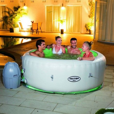 jacuzzi rond gonflable 6 personnes avec clairage led 6 couleurs. Black Bedroom Furniture Sets. Home Design Ideas