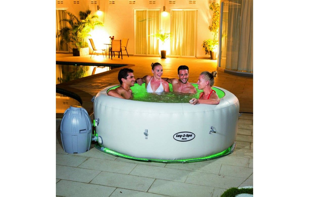 jacuzzi rond gonflable 6 personnes avec clairage led 6. Black Bedroom Furniture Sets. Home Design Ideas