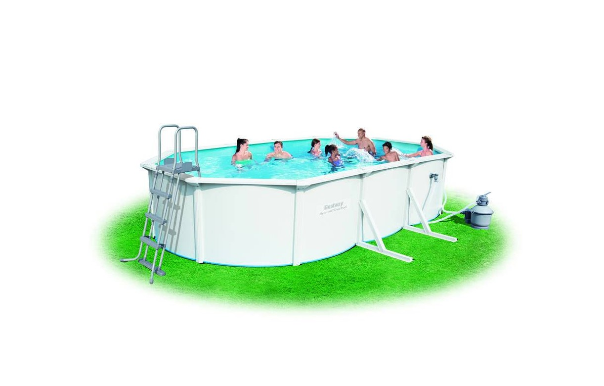 grande piscine en kit ovale 610cm blanche bestway 56369. Black Bedroom Furniture Sets. Home Design Ideas