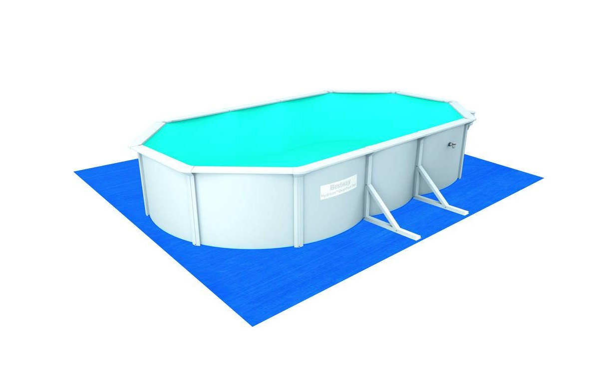 Grande piscine en kit ovale 610cm blanche bestway 56369 for Piscine jilong ovale