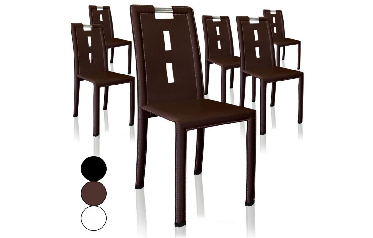 Lot de 4 chaises en simili cuir pvc marron noir ou blanc for Chaise salle a manger simili cuir marron