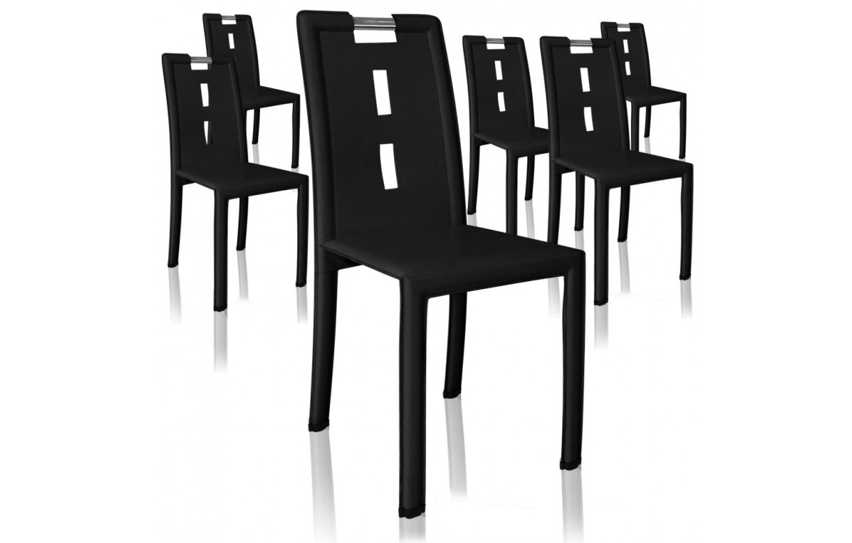 Lot de 4 chaises en simili cuir pvc marron noir ou blanc for Chaises simili cuir marron