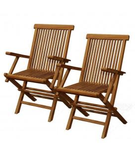 Lot de 2 chaises de jardin en teck brut avec accoudoirs