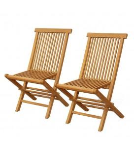 Chaise de jardin en teck massif - Lot de 2
