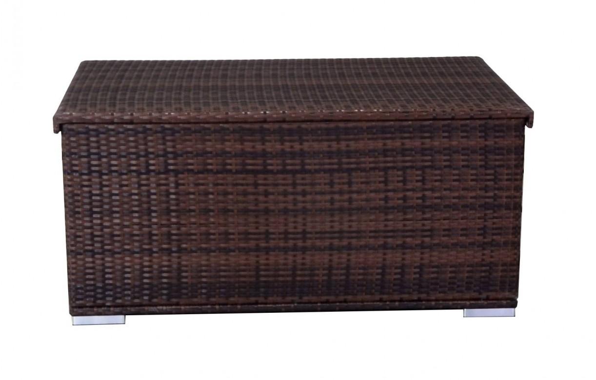 Coffre de rangement en r sine tress e noire ou chocolat - Coffre exterieur en resine ...
