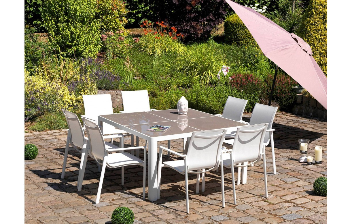 Beautiful table de jardin aluminium blanc et verre photos - Table jardin aluminium avec rallonge ...