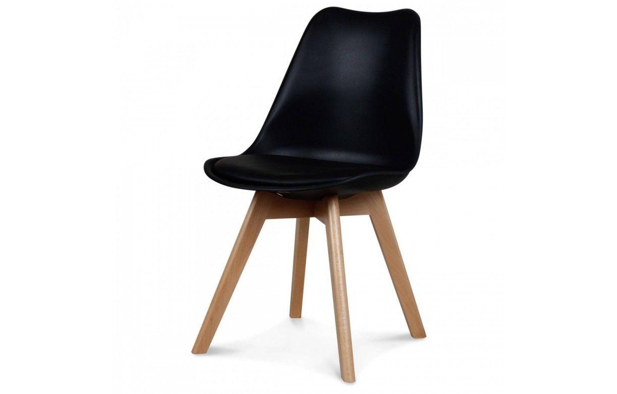 Chaise scandinave et pieds en bois scany lot de 4 for Chaise bois coloree