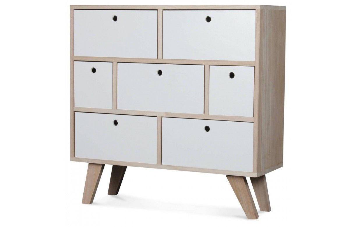 Commode style scandinave blanche en bois 7 tiroirs boreal - Commode design scandinave ...
