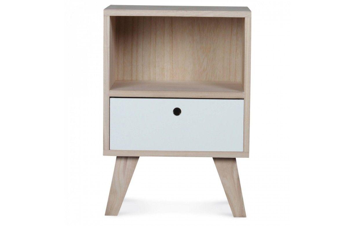 chevet style scandinave blanc en bois 1 tiroir et 1