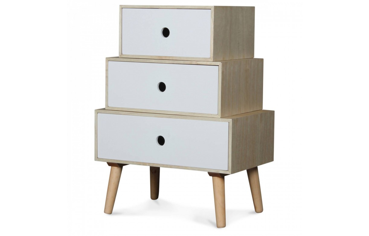 chevet style scandinave blanc modulable en bois 3 tiroirs boreal. Black Bedroom Furniture Sets. Home Design Ideas