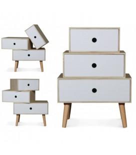 Chevet style scandinave blanc modulable en bois 3 tiroirs Boreal
