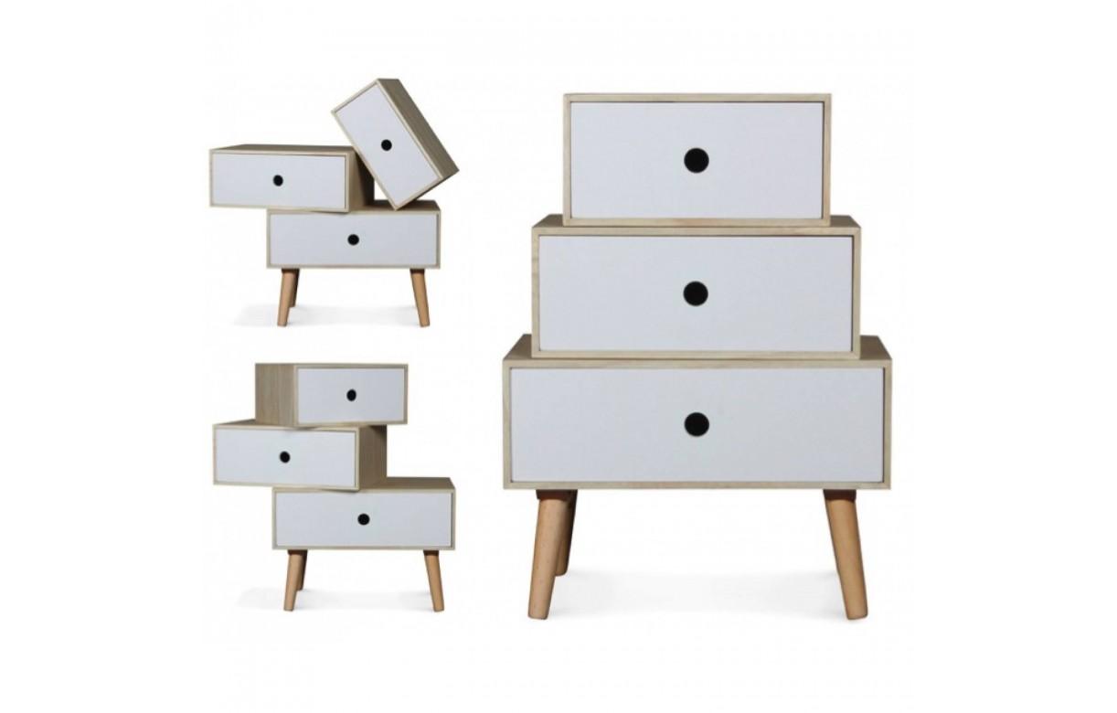Chevet style scandinave blanc modulable en bois 3 tiroirs for Table de chevet style scandinave