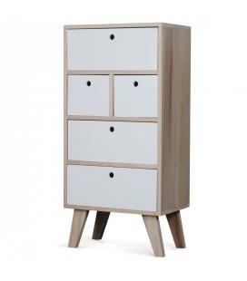Rangement semainier scandinave blanc en bois 5 tiroirs Boreal