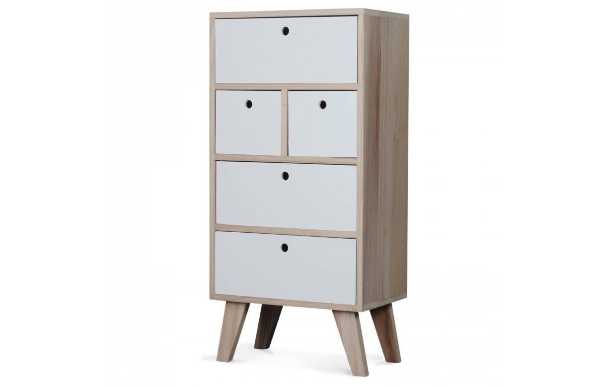 rangement semainier scandinave blanc en bois 5 tiroirs boreal. Black Bedroom Furniture Sets. Home Design Ideas