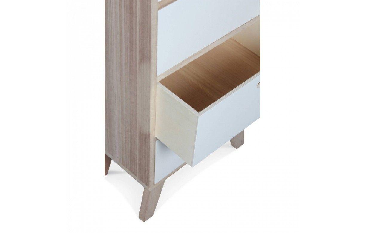 Colonne de rangement blanche scandinave en bois 6 tiroirs for Meubles bois blanc
