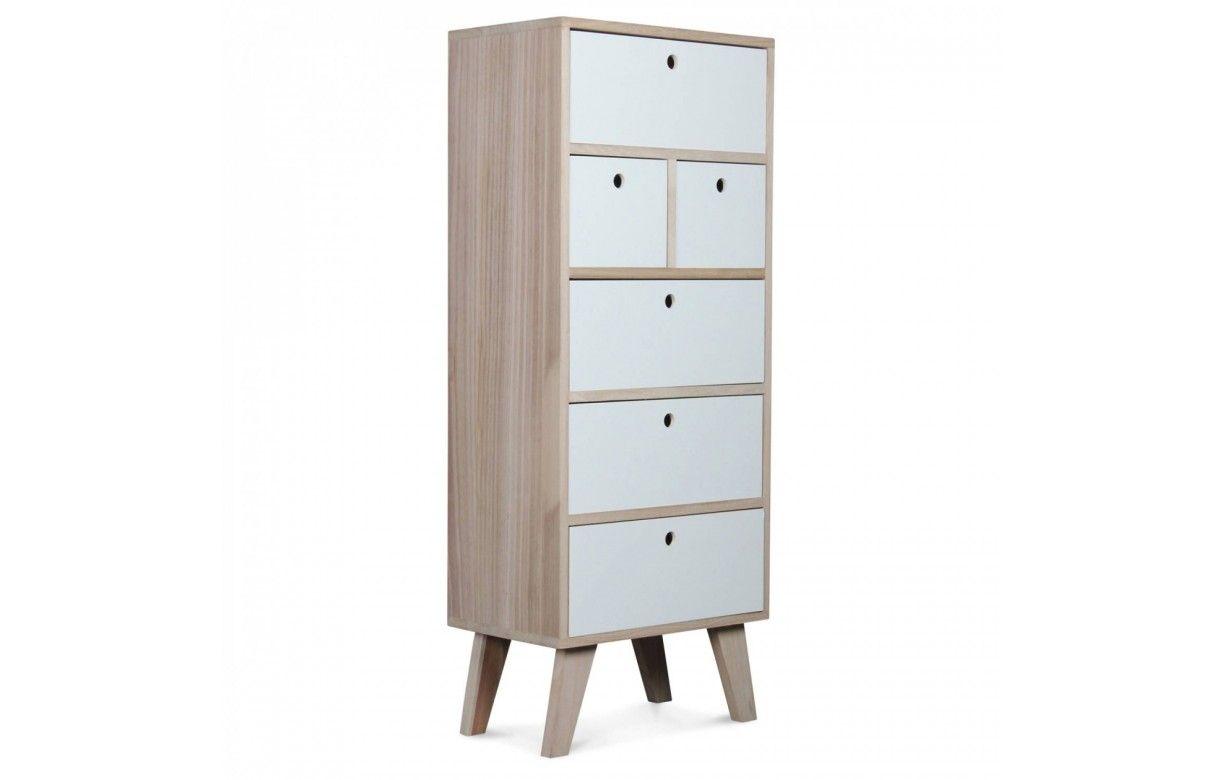 Colonne de rangement blanche scandinave en bois 6 tiroirs for Meuble blanc rangement